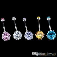 Wholesale Hot Crystal Gem Belly Ring Button Bar Body Piercing Surgical Steel Navel Ring V8U