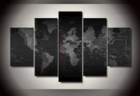 Cheap 5 Piece HD Printed time zone world map picture Painting wall art room decor print poster picture canvas Free shipping