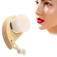 Wholesale Comma Face Soft fine Cleaning Brush Shape Deep Cleansing Pore Blackhead Original Wooden Handle
