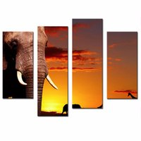 african savanna - LK483 Panel Wall Art Yellow Orange African Nature Concept African Elephant In Savanna At Sunset Tree Giraffe Painting Pictures Print On Ca