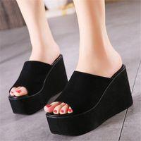Wholesale Womens Summer Wedge High Heel Slide Slipper Platform Shoes Flip Flops Sandals