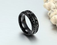 Wholesale Black diamond titanium steel fashion Ring Christmas gift