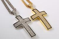 al por mayor los hombres de plata collar de la joyería-2016 nueva joyería de Hip Hop oro / plata lleno plateado cruzado cristalino del collar pendiente accesorios de joyería de los hombres de religión regalos Cristianismo