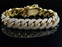 10k gold bracelet - Mens Solid K Yellow Gold Miami Cuban Link MM Diamond Bracelet ct