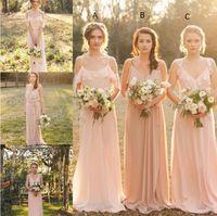beach blow - Cheap Country Style Pretty Blush Bridesmaid Dress Mixed Style Blow Chiffon Boho Long Bridesmaid Dresses Beach Wedding Party Gowns