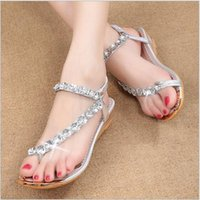 beach wedge shoes - 2016 New Bling Rhinestone Women Wedge Sandal Beach Sandal Flip Flop Sandal Flip Flops Comfortable Shoes Casual Shoes