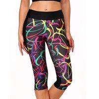 al por mayor high waist pants-Mujeres Yoga Ejecución de deporte al aire libre ejercicio elástico de cintura alta polainas Gym Fitness delgado pantalones capri pantalones 2501035
