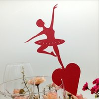 ballet cake decorations - Place Cards Pearl Paper Laser Cutting Ballet Dancer Table Number Wine Cup Name Card Wedding Decorations Party Favor Customizable B87