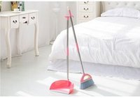 Wholesale Stainless steel rod broom broom dustpan set combination of fluff dustpan suit bag mail