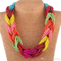 beaded statement necklace - Twist Rope Statement Chains Necklaces Chokers Women Lady Fashion Bohemian Beads Colorful Party High Quality Jewelry Chokers Bride Wedding