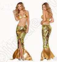 adult mermaid skirt - LJJK182 Shining Sexy Lingerie Mermaid Bra Set Uniform Nightwear Golden Sequins Skirt Set Cosplay Costume Golden Bra Dress Adult Lady set
