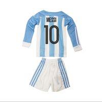 Wholesale Kids Argentina Soccer Jerseys Long Sleeve children Youth Shirts Sets Messi Aguero Kid Home Football Kits Soccer Uniforms Jersey