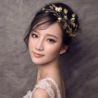 Wholesale Classic Women Dresses For Wedding - Gold Leaf Headband for Women Girl Fashion Jewelry Wedding Hair Accessories Bridal Headpieces Handmade Hair Tiaras Evening Dress Decoration