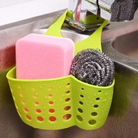 Wholesale 2016 New Kitchen Sink Sponge Storage Hanging Basket Adjustable Snap Button Type Drain Rack Faucet Storage Bag