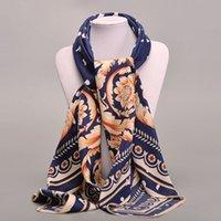 Wholesale New Women Scarf Twill Silk Euro Brand Flower Print cm cm Square Scarf Femal Muslim Headscarf High Quality Shawl