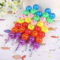 Wholesale Hot Sale Smiley Cartoon Stationery Pencils Children Gift Rainbow Crayon Pen With Funny Faces