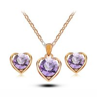 Wholesale Cz Blue Pendant - Kids Jewelry Sets 18K Yellow Gold Plated Big CZ Cute Heart Stud Earrings Chain Pendant Necklace for Children Girls