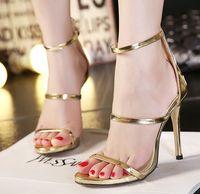 beautiful silver belt - New Style Hot Sale Fashion Sexy Sweet Beautiful Princess Patent Hollow Gold Super Belt Buckle Superfine Heels Cool Sandals EU35