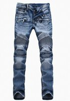Wholesale Men s foreign trade light blue jeans pants Balmain motorcycle pants men washing to do the old fold jeans wholesaleFGTX1711