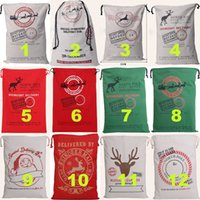 Wholesale 2016 Christmas Large Canvas Bags Styles for Choose Santa Claus Drawstring Bags With Reindeers Cotton Christmas Decorations Gift Sack Bags
