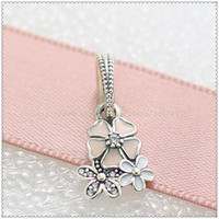 angels beads and flowers - New Spring Sterling Silver Poetic Blooms Pendant Charm Bead with Pink Enamel and Cz Fits European Pandora Style Jewelry Bracelets