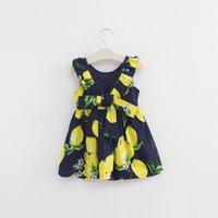 Cheap New 2016 Summer Girls Lemon dresses Printed fruit Girls Halter Dresses baby girls Lovley Lemon Priting Dresses free dhl ups ship