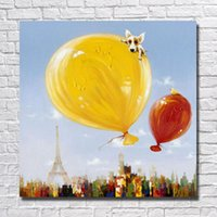 air balloons pictures - Top quality canvas based still life things hot air balloon picture oil painting for living room wall