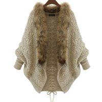 Wholesale Fashion Women Loose Fur Collar Cardigan Sweater Autumn Winter Ladies Knitted Sweater Coat Batwing Sleeve Overcoat