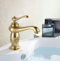 Wholesale Gold finish Luxury Bathroom Basin Faucet Single Handle with diamond Vanity Sink Mixer water Tap H6058