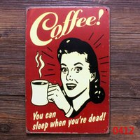 Wholesale 20x30cm Metal sign vintage home decor coffee iron poster Tin wall plaque gift