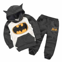 batman fleece - Batmen Suits Children Tracksuit Baby Boy Clothes Kids Fleece Girl Sweatshirt Set Hooded Ear Cartoon Hoodie and Coat Pants Fall Winter