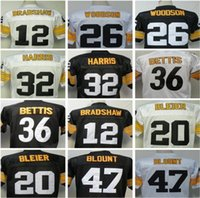 Wholesale And Retail Elite Fans Sport JerseyS TERRY BRADSHAW ROCKY BLEIER Rod Woodson Franco Harris Jerome Bettis MEL BLOUNT Men s Throwback