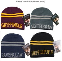 Wholesale 24pcs Harry Potter college hats Gryffindor cap Slytherin beanies Ravenclaw skullies winter hat For Boy Gift