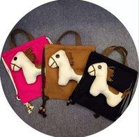 Wholesale Fashion New children backpacks kids cute pony handbags children one shoulder Bags Girls Purse Messenger Bag canvas shool Backpacks A9092