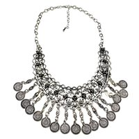 big metal jewellery - Vintage Antique Silver Acient Coin Big Metal Choker Necklace Bohe Jewelry Jewellery Unique for Women