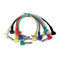 Wholesale 6 Set Colorful Guitar Patch Cables Angled for Guitar Effect Pedals Audio Plug Musical Tools
