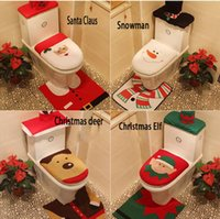 bathroom suits - 2016 New Creative Christmas Decoration snowman toilet set three piece suit Seat Cover and Rug Bathroom Set party decoration