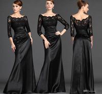 Melhor venda Mãe Formal barata de vestidos de noiva Lace Top 3/4 mangas compridas Bainha Preto vintage Mãe Evening Vestidos Plus Size