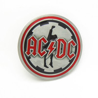 Wholesale Western Round ACDC Belt Buckle For cm Width Belt In Good Plating For Mens Metal Belt Buckle Drop Shipping