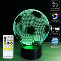 aa remote - 2016 Football Night Lamp D Optical Lamp RGB Lights Dimmable DC V AA Battery IR Remote Control Retail Box