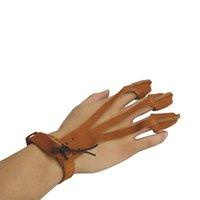 arrow shooter - Shooting Glove Leather Finger Design Archery Protect Glove Traditional Shooters Glove Medium