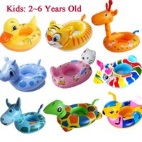 Wholesale Hot Sale Kids Swimming Ring Cartoon Tiger Duck Hello Kitty Children Boys Girls Inflatable Underarm Laps Kids Beach Toys with Sound DHL