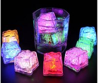 auto year - Xmas Gift Romantic LED Ice Cubes Fast Slow Flash Color Auto Changing Crystal Cube For Valentine s Day Party Wedding Water Actived Light up