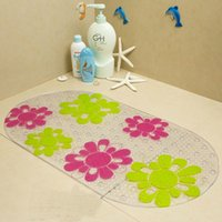 Wholesale 68 cm PVC Oval Non slip Bath Mats Endless Flower Pattern bath room mat sucker mats Kitchen carpet Mat corridor Carpets Plastic