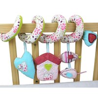 baby mobiles for crib - Baby Rattles Bed Crib Hanging Floral printed Baby Plush Toy with Music Roller Bell Baby Toy Mobiles Bebes Toy for Baby FCI