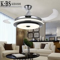Wholesale newest modern leaf with remote quality plastic leaf invisible electric ceiling fan light LED32 watt dimmer