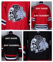 Wholesale HOT SALE Men s Chicago Blackhawks Custom Hockey White Skull Jerseys High Quality Stitched Any Name Number You Decide Two Colors