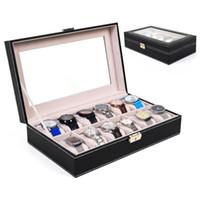 Wholesale 12 Slot Leather Watch Box Display Case Organizer Glass Top Jewelry Storage New
