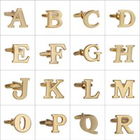 Wholesale A to Z Letters Gold Cufflinks for Mens Shirt High Quality Copper Material Cufflinks Fashion SAVOYSHI Brand Jewelry Retail