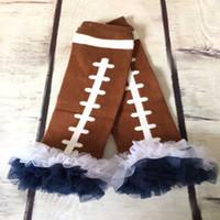 Wholesale Sport American Football ruffled Leg warmer Baby leg warmer Football leg warmer Navy White Chiffon Ruffle